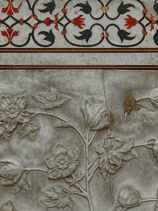 gemstone inlay and floral carvings on Taj Mahal