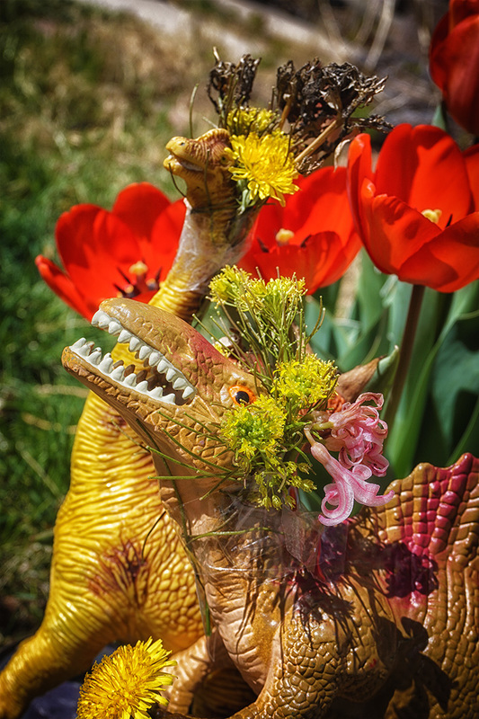 dinosaurs with flower head-dresses