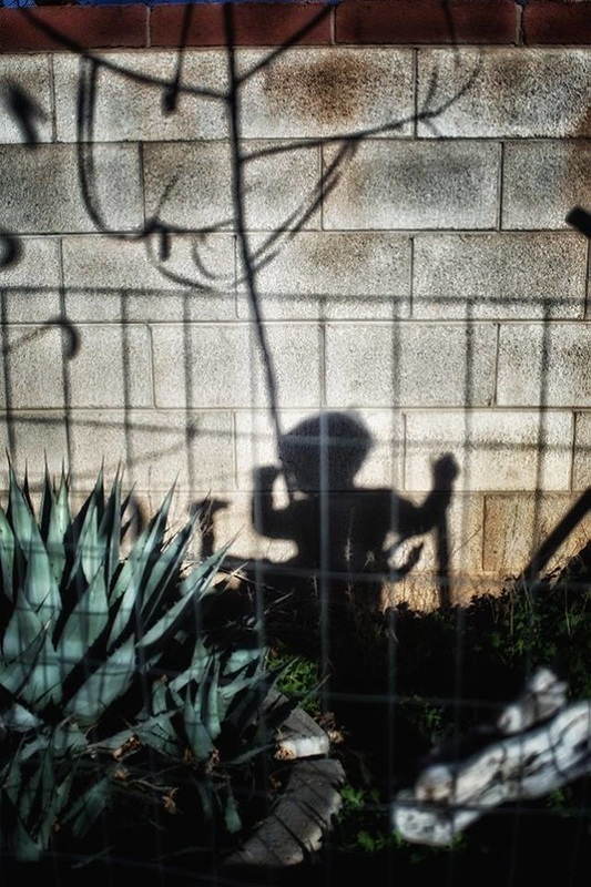 shadow of small child at fence