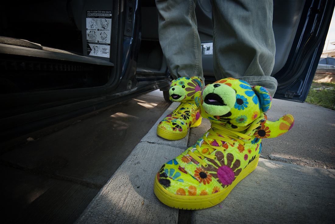 neon flowers bear shoes