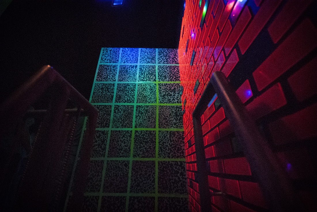 neon bricks and grids at meow wolf