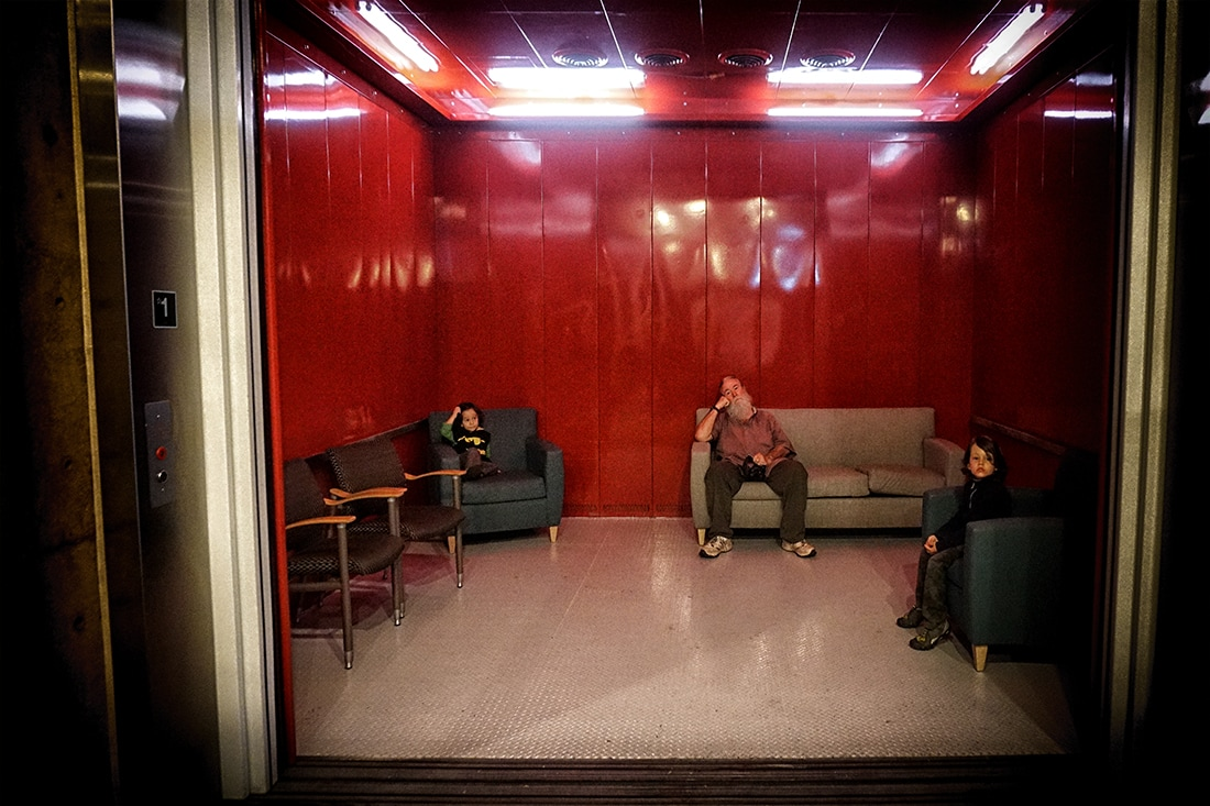 elevator room at explora