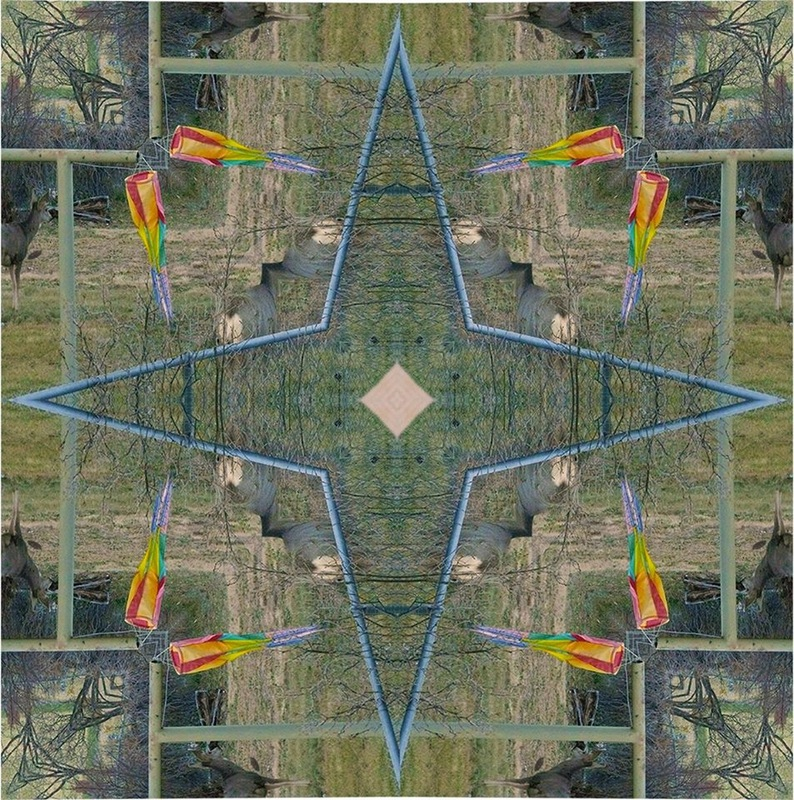 yantra made from image of elk and rainbow windsock