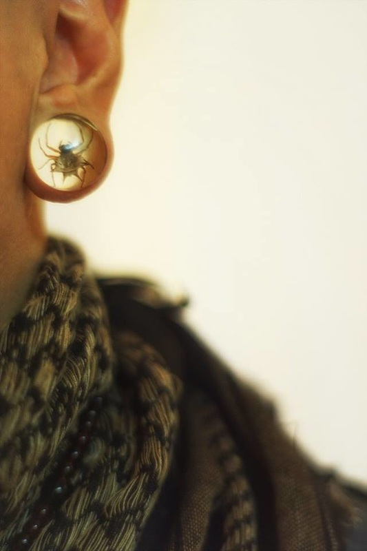 close up of gauged ear jewelry with spider
