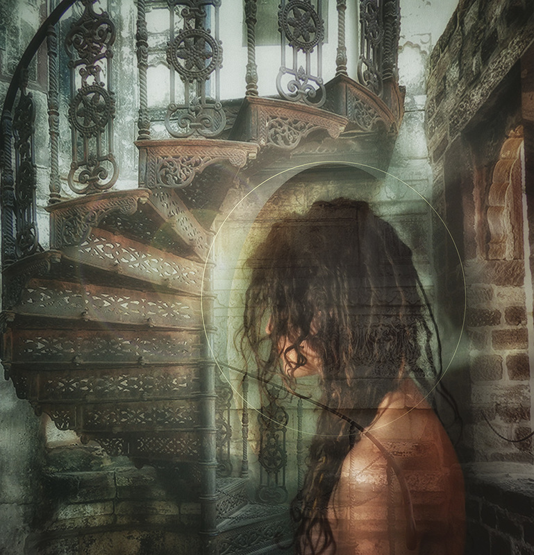 composite image of woman with stairway