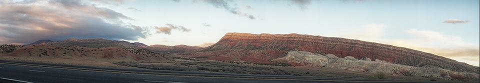 Panoramic photo of hills near San Ysidro on highway 550