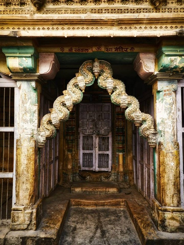 elaborately carved decorated entryway