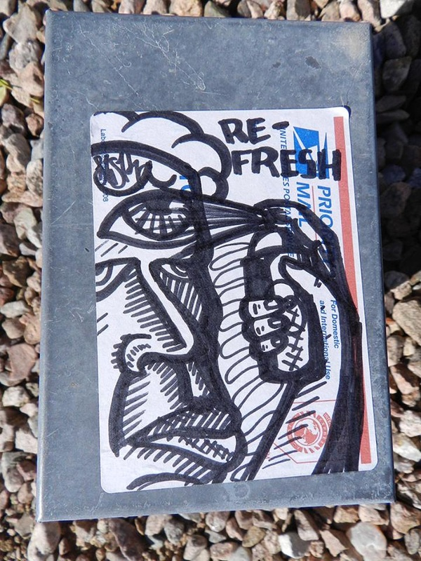 sticker on metal box - re-fresh