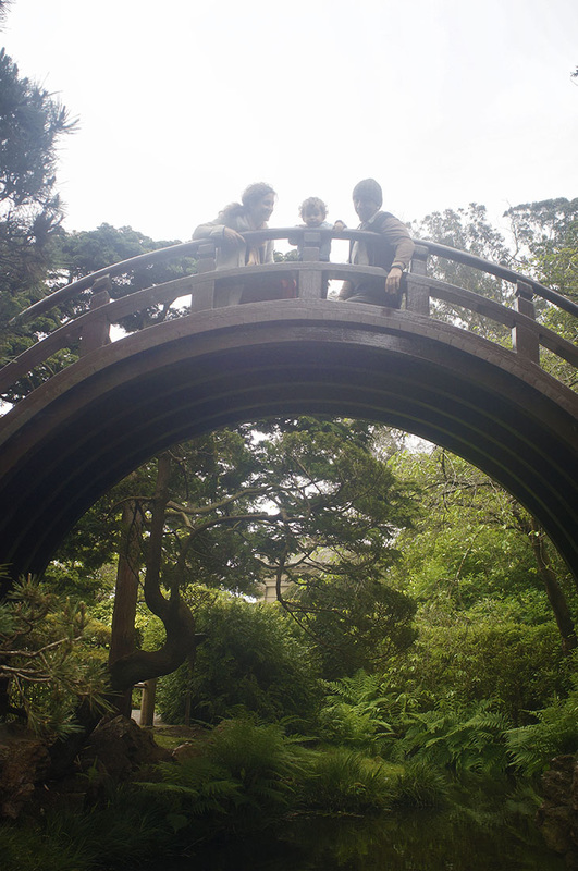 family portrait on half circle bridge Japanese Tea Garden