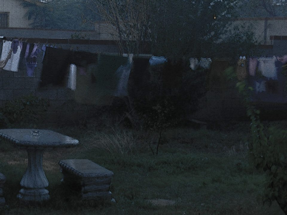 laundry hanging in rain