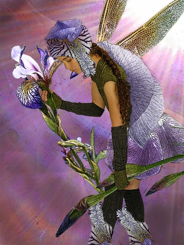 digital image of woman in clothing made of iris flowers with dragonfly wings