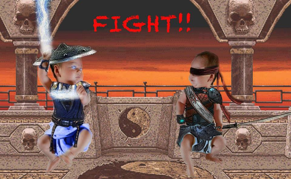 digital image of babies dressed up as Mortal Combat video game characters