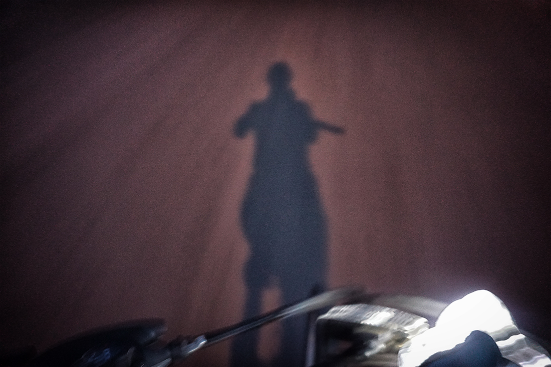 shadow while riding bike