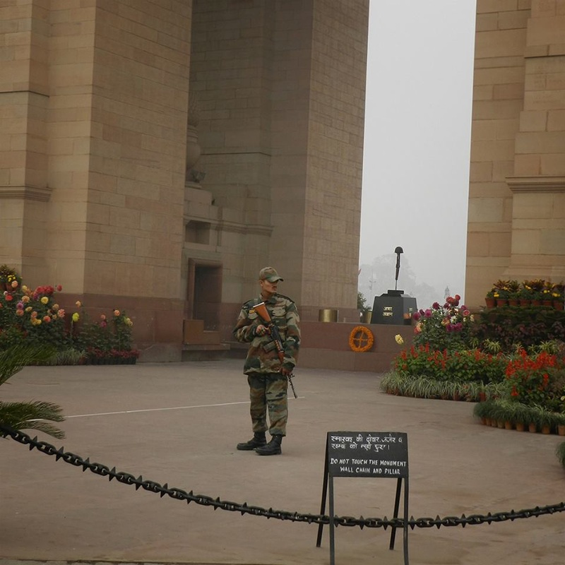 armed guard at Gate of India