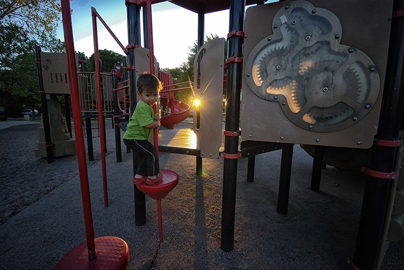 child climbing at park