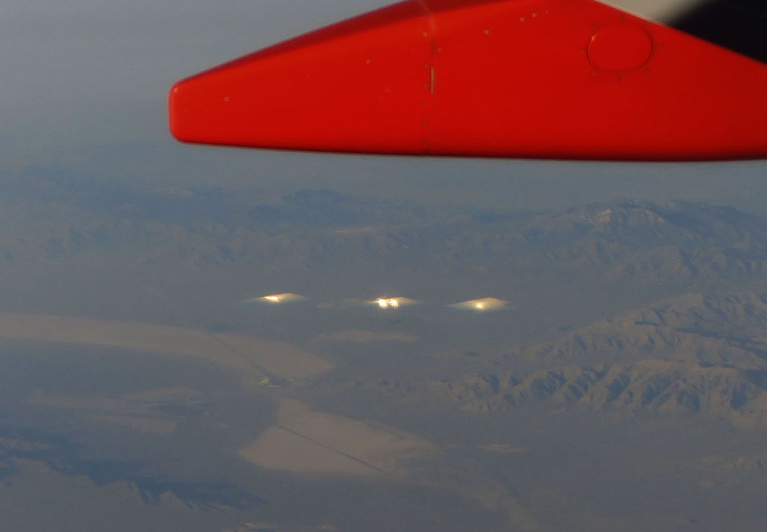 close up of strange lights in mountains seen from the air