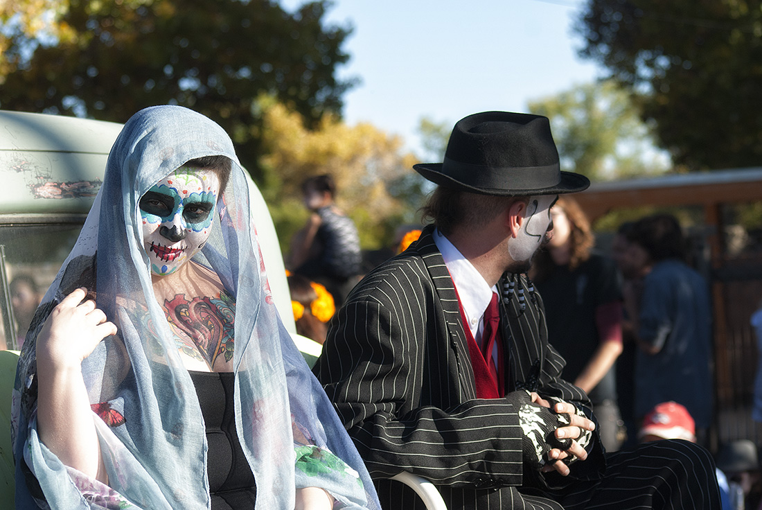 calavera bride rides in truck bed