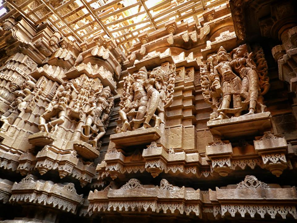 elaborate carvings inside Jain temple