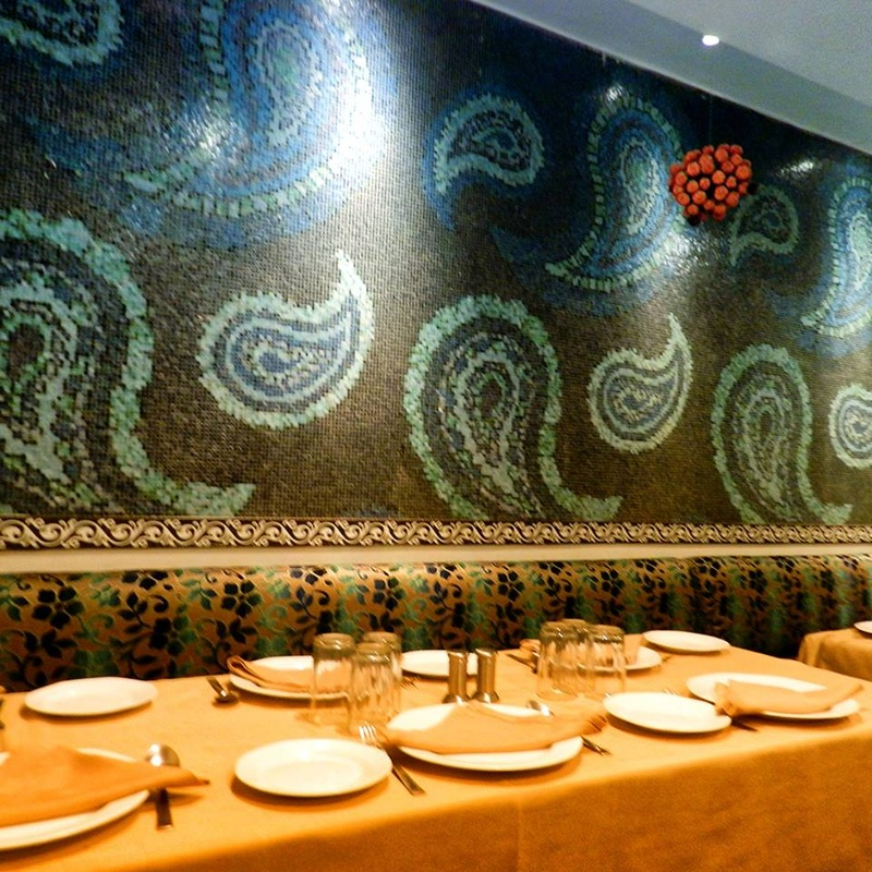 paisley mosaic tiles on wall of restaurant