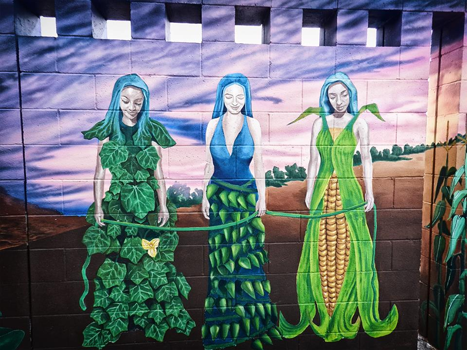 three sisters painting of squash beans and corn women