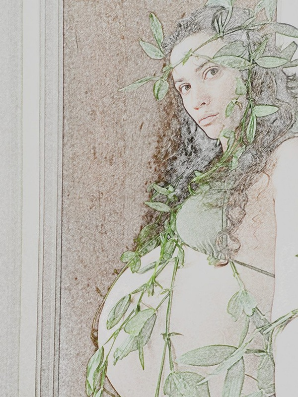 photo of pregnant woman with vines, with filters to look like a colored pencil drawing