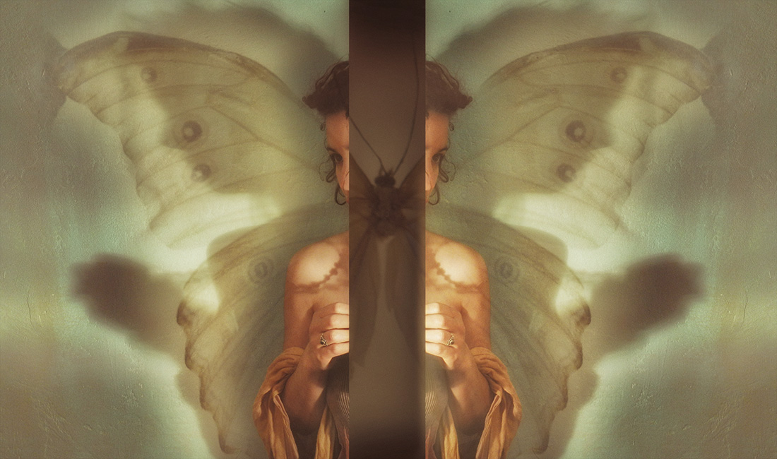 composite image of woman with butterfly wings