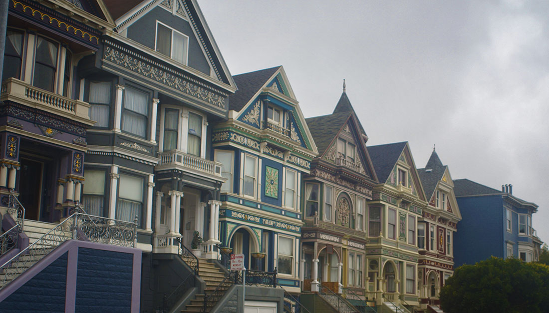 row of houses near Haight and Ashbury