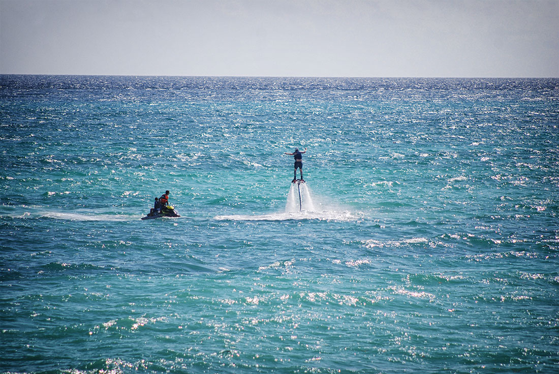 hoverboarding on the Caribbean sea, Playa del Carmen