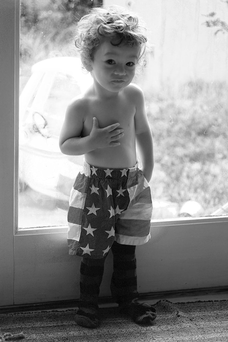 child portrait patriotic flag shorts black and white
