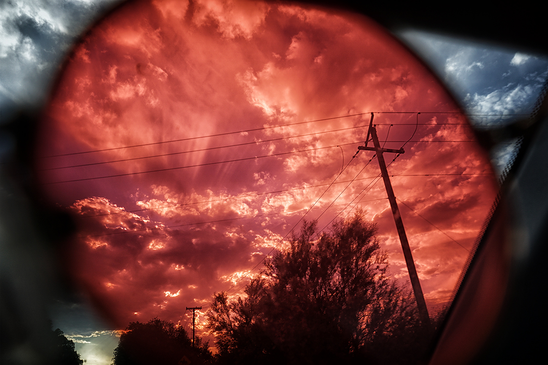 Power lines through red glasses