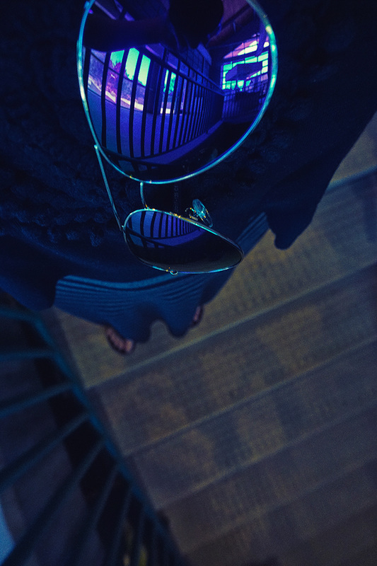 stairs reflected in purple shades