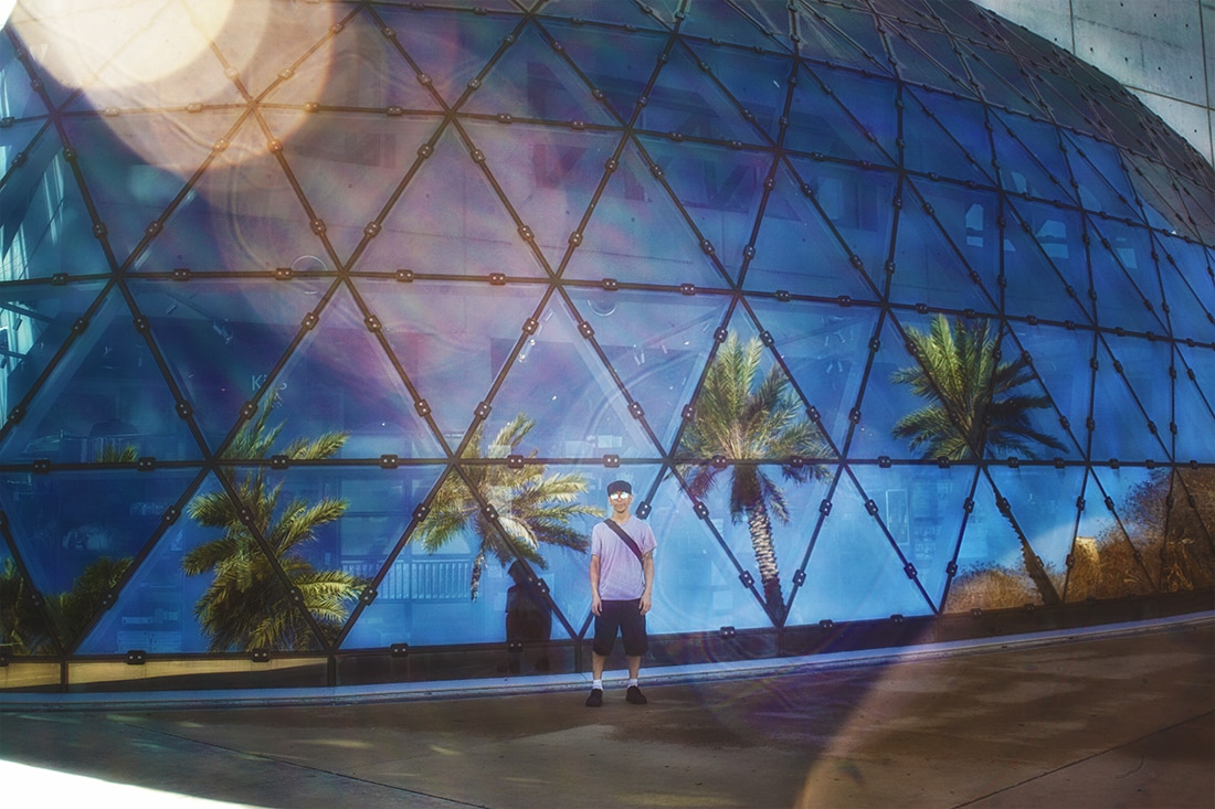mike and palm trees reflecting in the enigma dali museum st. petersburg