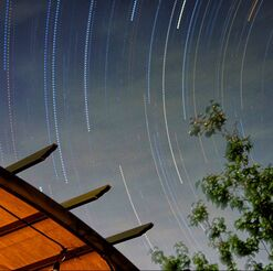 star trails from backyard