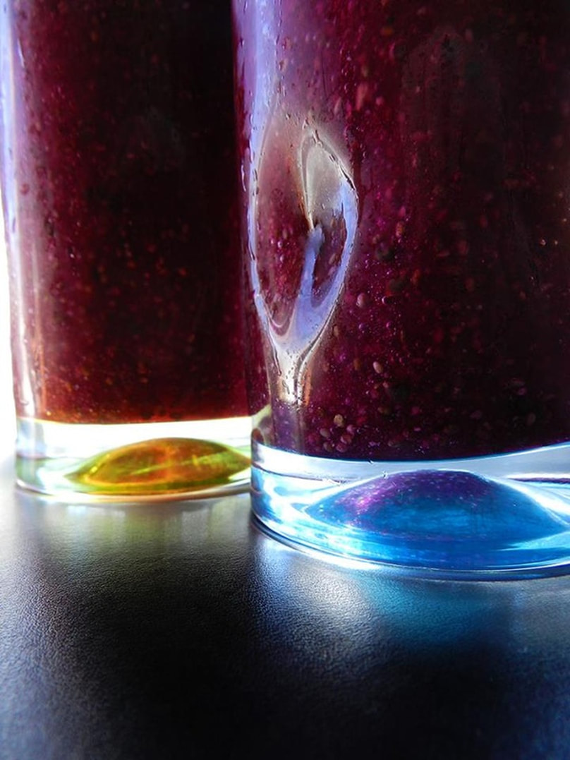 purple smoothie in glasses