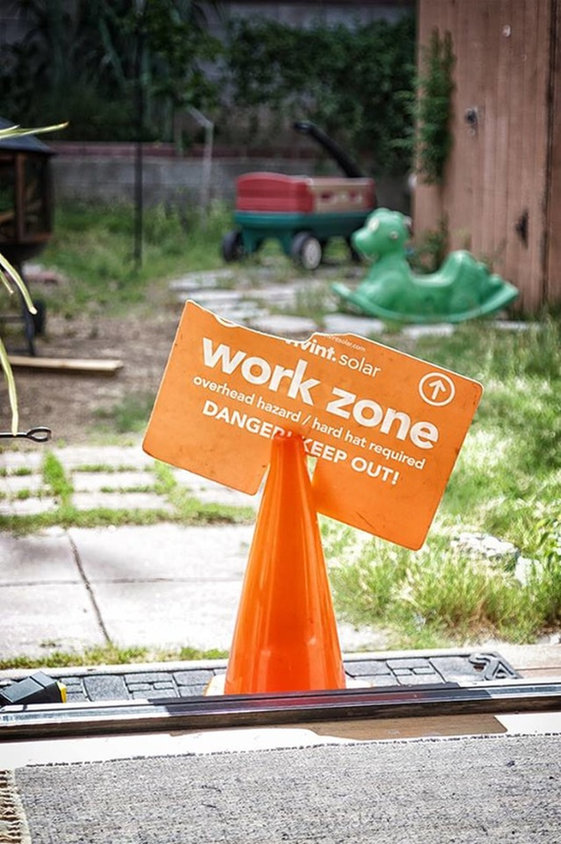 work zone sign vivint solar