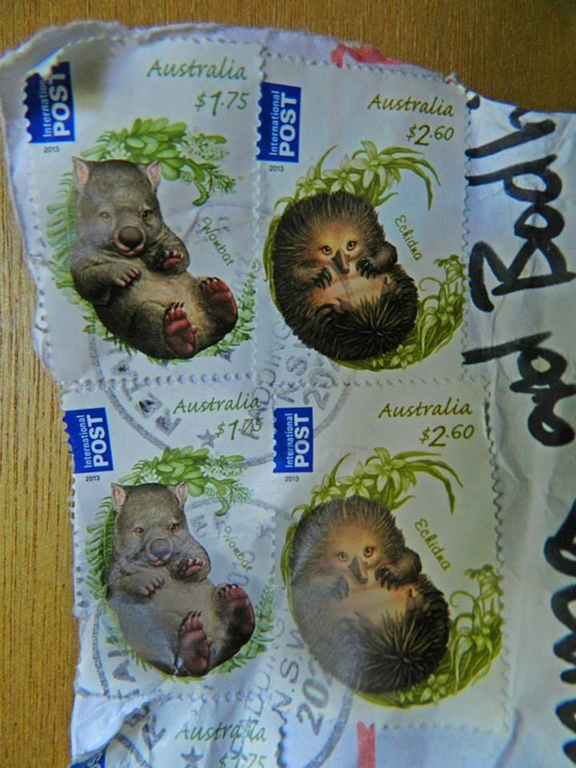 Australian postage stamps depicting a wombat and an echidna