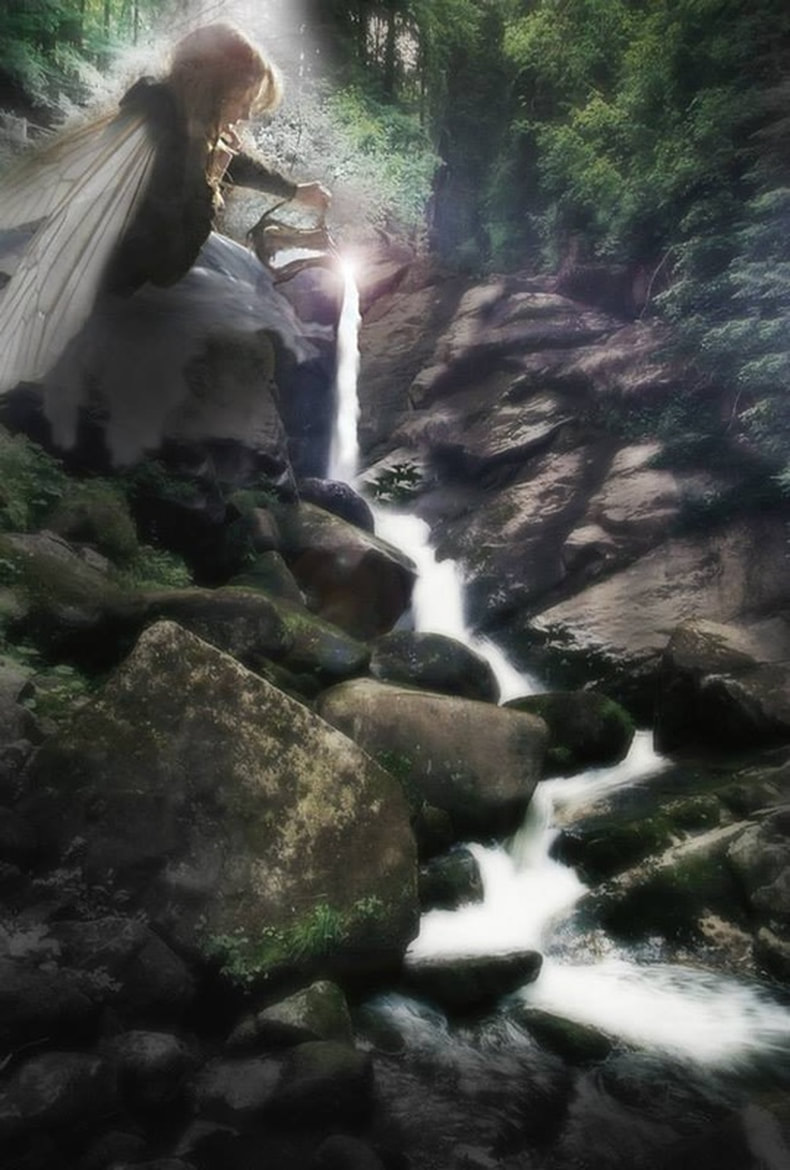 digital image of winged woman pouring out a waterfall from a pitcher