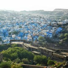 view of blue houses of Jodphur from Mehrangarh Fort