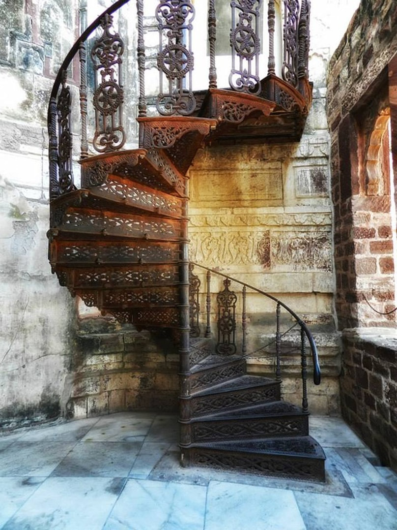 metal spiral staircase at Mehrangarh Fort