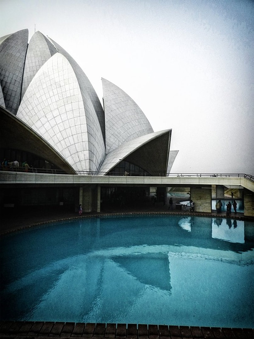 lotus temple and surrounding pool