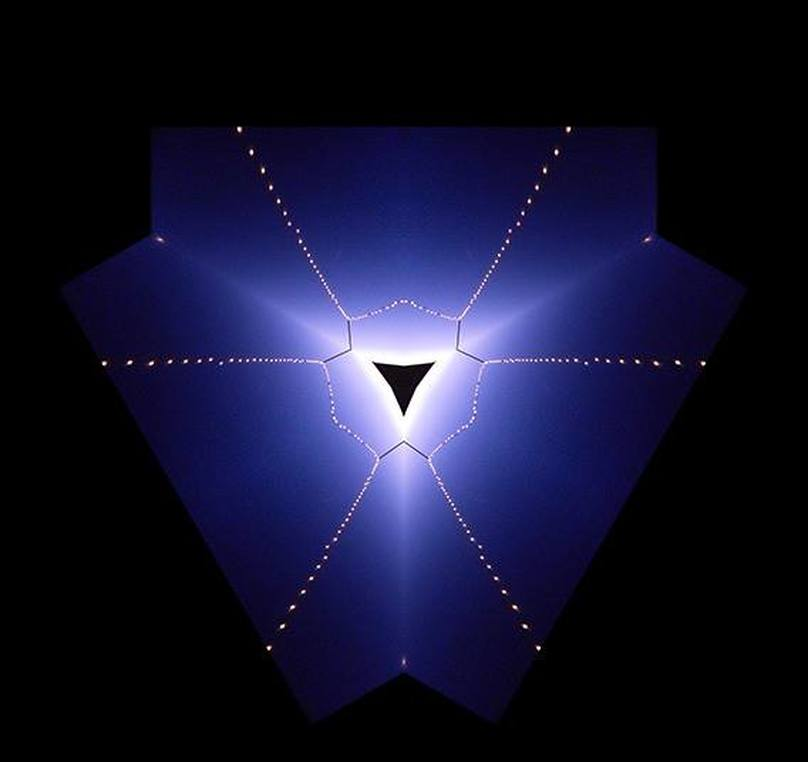 blue yantra with lights