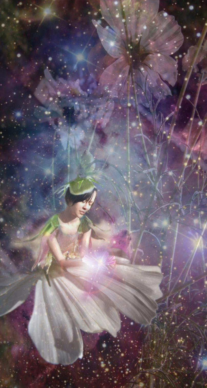fairy with dress of cosmos flowers overlaid with galaxies