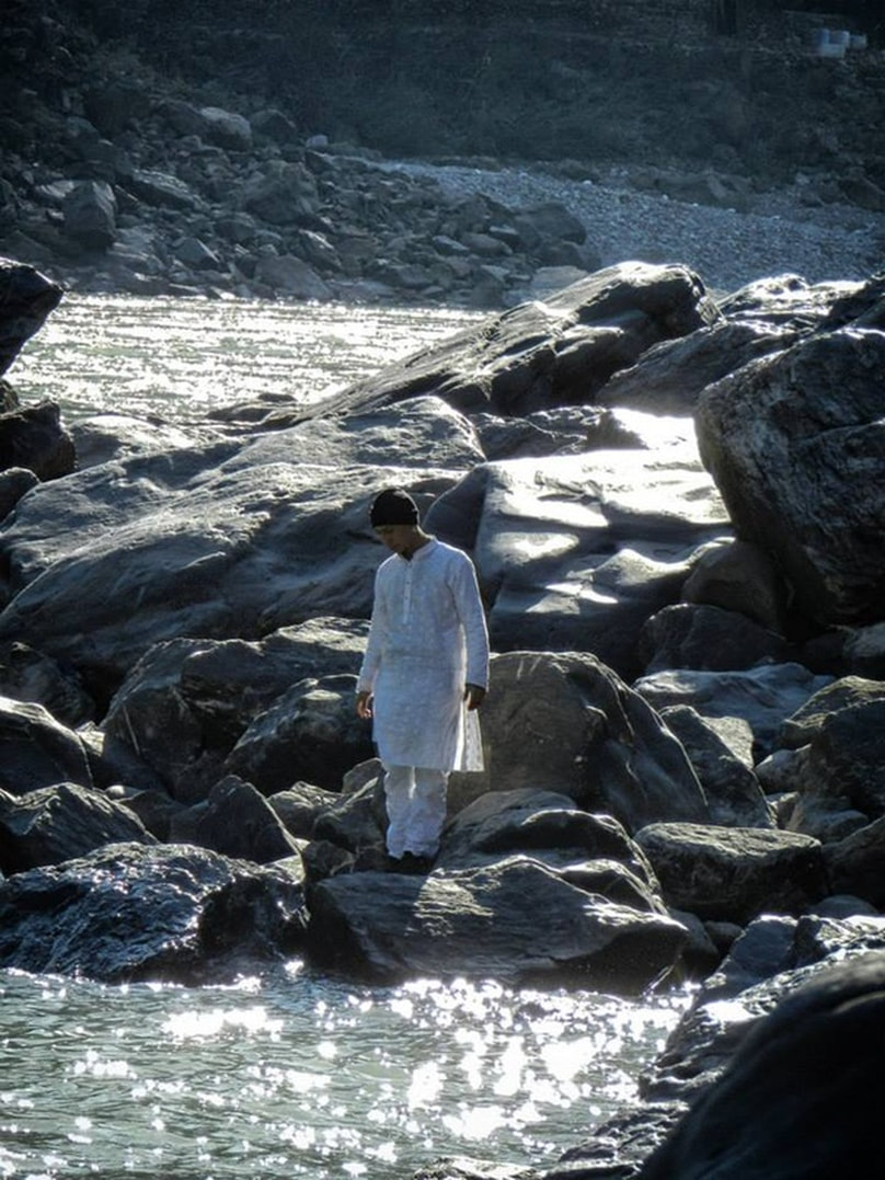 man in white clothing at Ganges